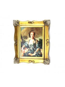 Quadro su tela cornice in legno oro 50x60 dame art. 5-008