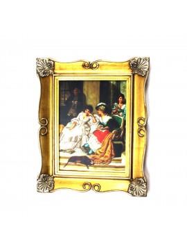 Quadro su tela cornice in legno oro 50x60 dame art. 6-008