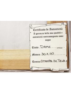 Quadro su tela cornice in legno oro 50x60 dame art. 7-008