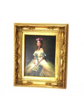 Quadro su tela cornice in legno 50x60 dama art. 4-037