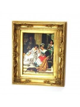 Quadro su tela cornice in legno 50x60 dama art. 6-037