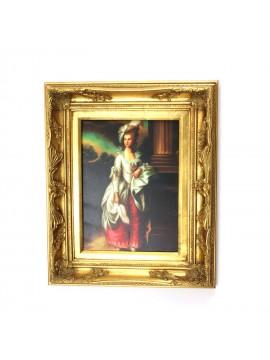 Quadro su tela cornice in legno 50x60 dama art. 7-037