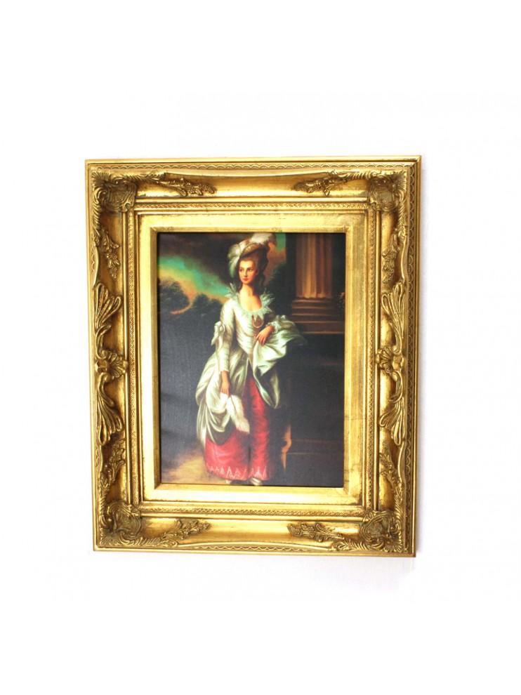 Quadro su tela cornice in legno 50x60 dama art 7 037 for Cornice per quadro