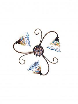 Plafoniera rustica in ceramica siciliana 3 luci Stella