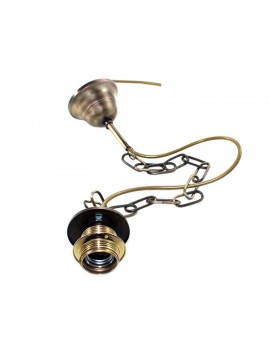 Chain in burnished brass metal lampholders