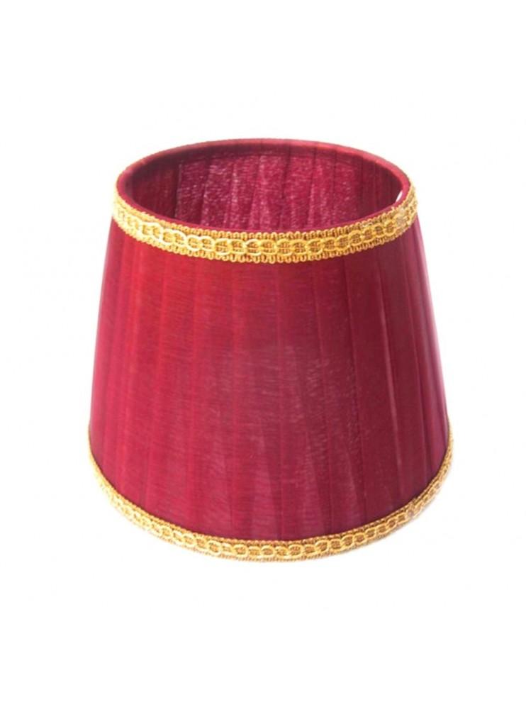 Paralume Rosso-Bordeaux classico plisse in organza D.16cm