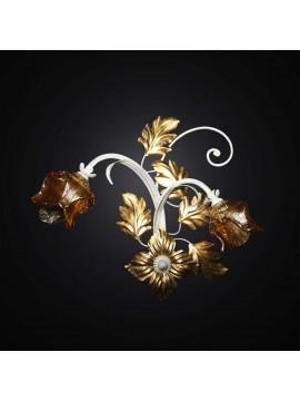 Applique classico in ferro battuto foglia oro 2 luci BGA 2863/A2