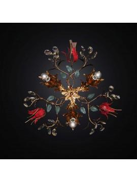 Plafoniera classica in ferro battuto foglia oro 3 luci BGA 2805/PL3