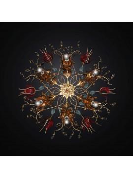 Plafoniera classica in ferro battuto foglia oro 6 luci BGA 2805/PL6