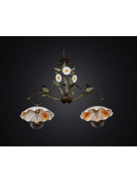 Rustic barbell in wrought iron and ceramic 2 lights BGA 2817 / B2