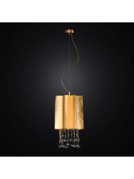 Lampadario classico in foglia oro e cristallo 1 luce BGA 2841/P23