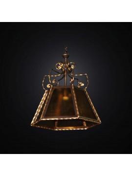 Lampadario classico in ferro battuto e vetrofusione 1 luce BGA 2850/S40