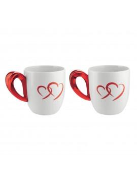Set 2 tazze mug guzzini collezione love rosso