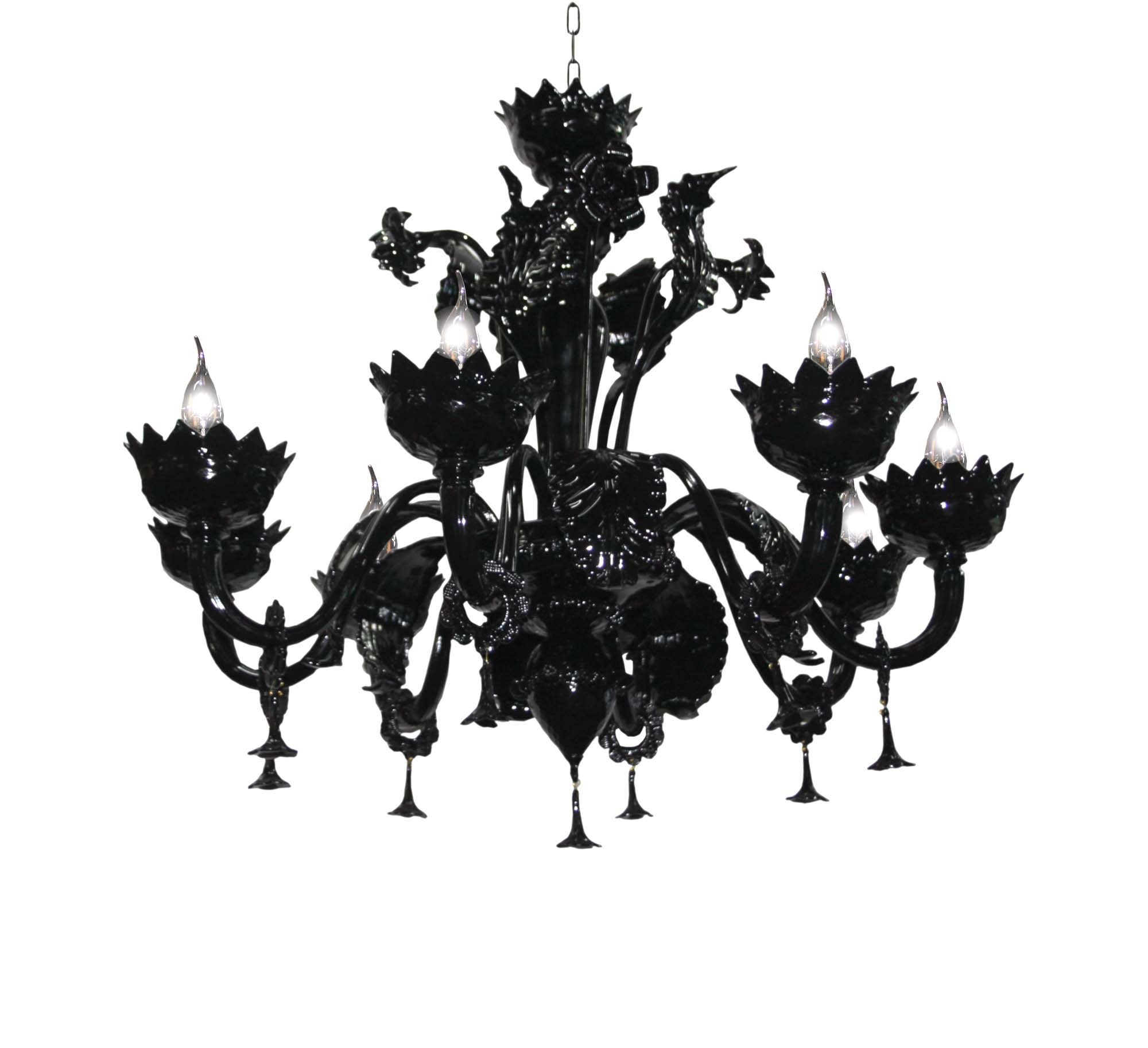 Modern Black Murano Chandelier 8 Lights Bga 2881 8