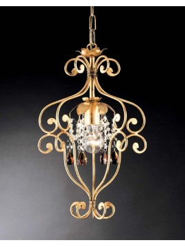 Classic wrought iron chandelier with gold leaf art. ING146oro