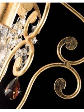 Lampadario classico a 1 luce ferro battuto foglia oro art. ING 146 oro