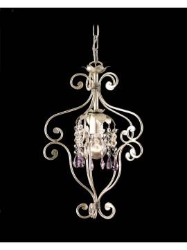 Lampadario classico 1 luce ferro battuto cristallo foglia argento art. ING146