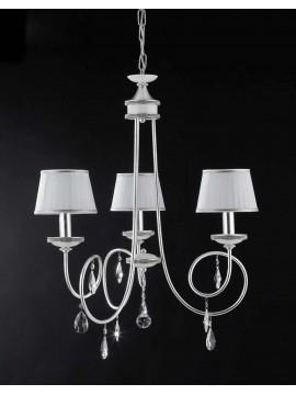Lampadario 3 luci ferro battuto foglia argento art. LS151/3