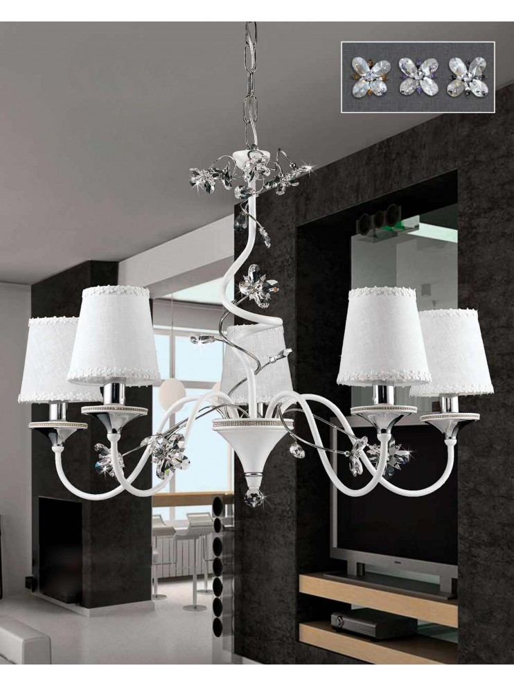 Contemporary 5 lights chandelier with strass pre LS 158/5