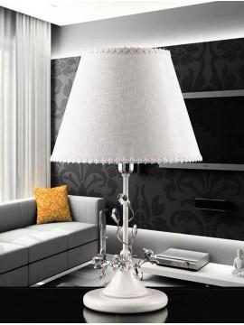 Lume grande a 1 luce contemporaneo bianco e cromato pre LG158/p