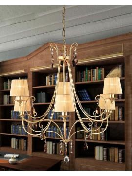 Lampadario classico ferro battuto foglia oro 6 luci LS 145/6 oro