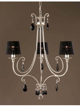 Classic chandelier in wrought iron silver leaf 3 lights LS 145/3