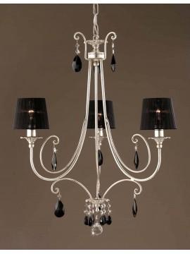 Lampadario classico in ferro battuto foglia argento 3 luci LS 145/3