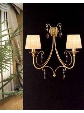 Classic wall light wrought iron crystal leaf gold art. ap 145/2