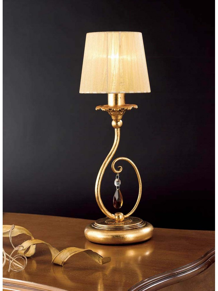 Table lamp with 1 light, wrought iron, gold leaf art. LP 145