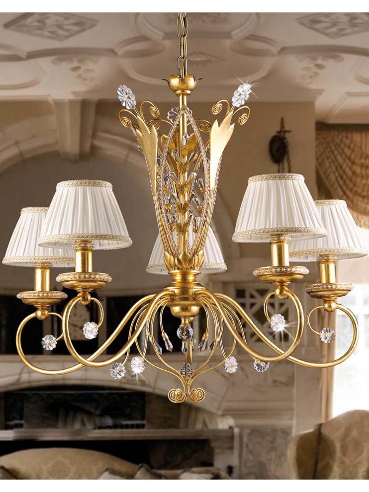 Lampadario classico 5 luci in ferro battuto foglia oro pre for Lampadario classico