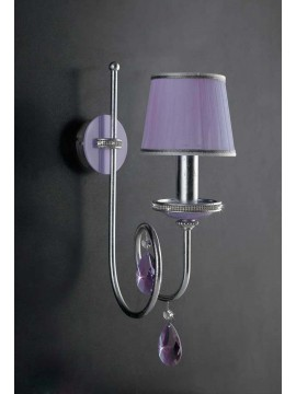 Applique 1 luce ferro battuto cristallo foglia argento art.ap151/1