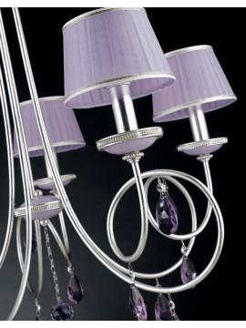 Lampadario 5 luci ferro battuto foglia argento art.LS151/5