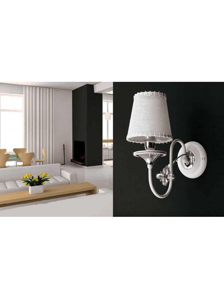 Applique da parete 1 luce contemporaneo bianco e cromato pre ap158/1p
