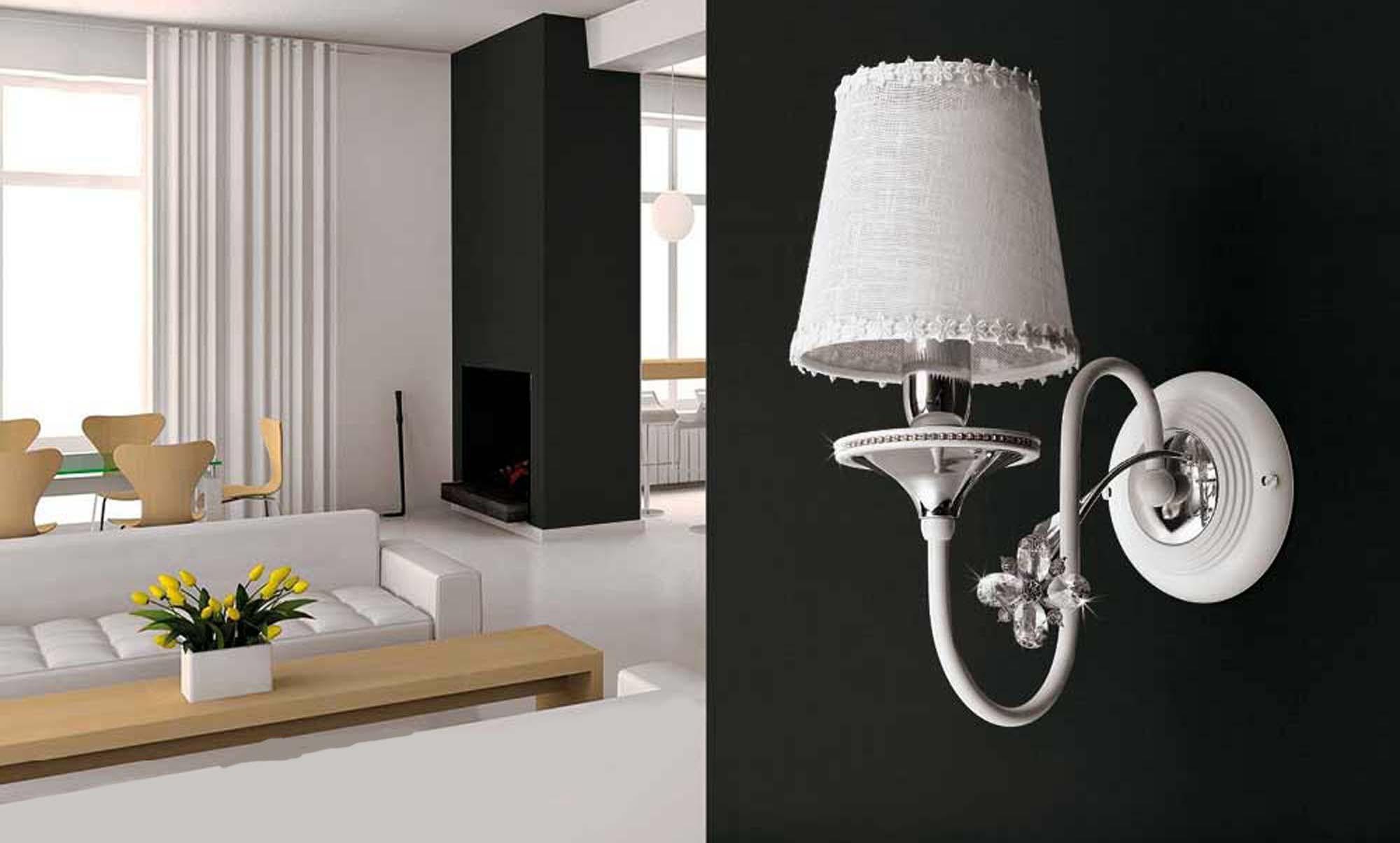 Applique 1 luce contemporaneo bianco e cromato pre ap158 1p