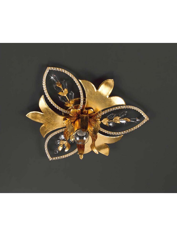 Ceiling light 1 light wrought iron in gold leaf and crystals pre 153/1