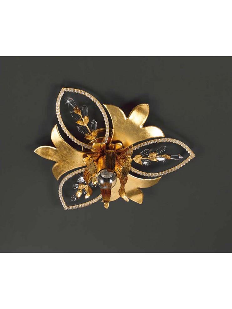 Plafoniera 1 luce ferro battuto in foglia oro e cristalli pre153/1