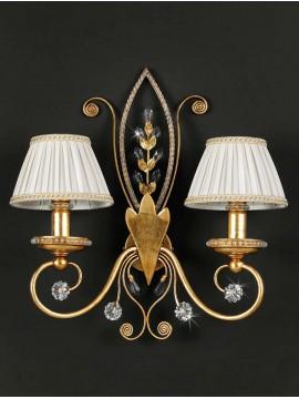 Applique in ferro battuto foglia oro e strass 2 luci pre153/2p