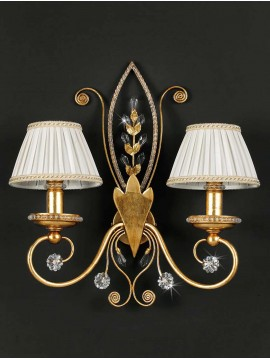 Applique in wrought iron gold leaf and strass 2 lights pre 153 / 2p