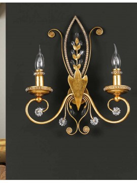Applique in wrought iron and gold leaf 2 lights pre 153/2