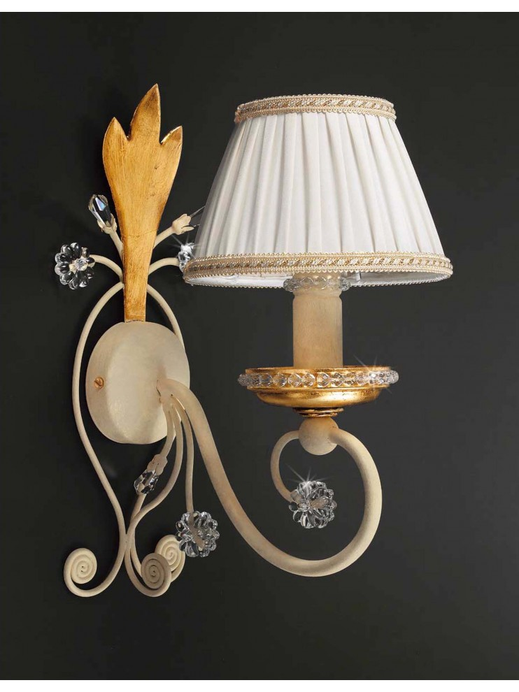 Applique in wrought iron cream and gold leaf 1 light pre 153 / 1p