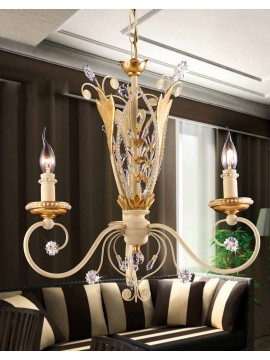 Chandelier 3 lights wrought iron and gold leaf pre 153/3
