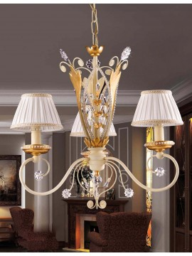 Chandelier 3 lights wrought iron leaf gold pre 153 / 3p