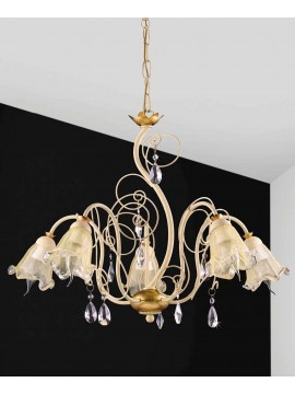 Chandelier 5 lights wrought iron cream and gold leaf pre 156/5