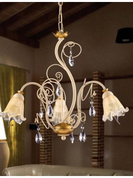 Chandelier 3 lights wrought iron cream and gold leaf pre 156/3