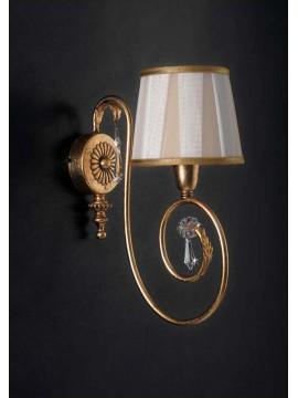 Applique classico 1 luce ferro battuto cristallo foglia oro pre ap 125/1