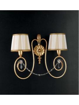 Applique classico in ferro battuto  2 luci cristallo foglia oro art. ap 125/2