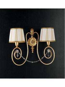 Classic wrought iron wall light 2 lights gold leaf art. ap 125/2