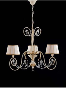 Classic wrought iron chandelier 3 lights gold leaf art. LS 125/3