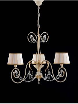 Lampadario classico in ferro battuto 3 luci foglia oro art. LS 125/3