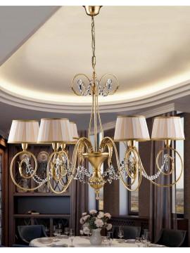 Lampadario 6 luci ferro battuto foglia oro art. LS125/6